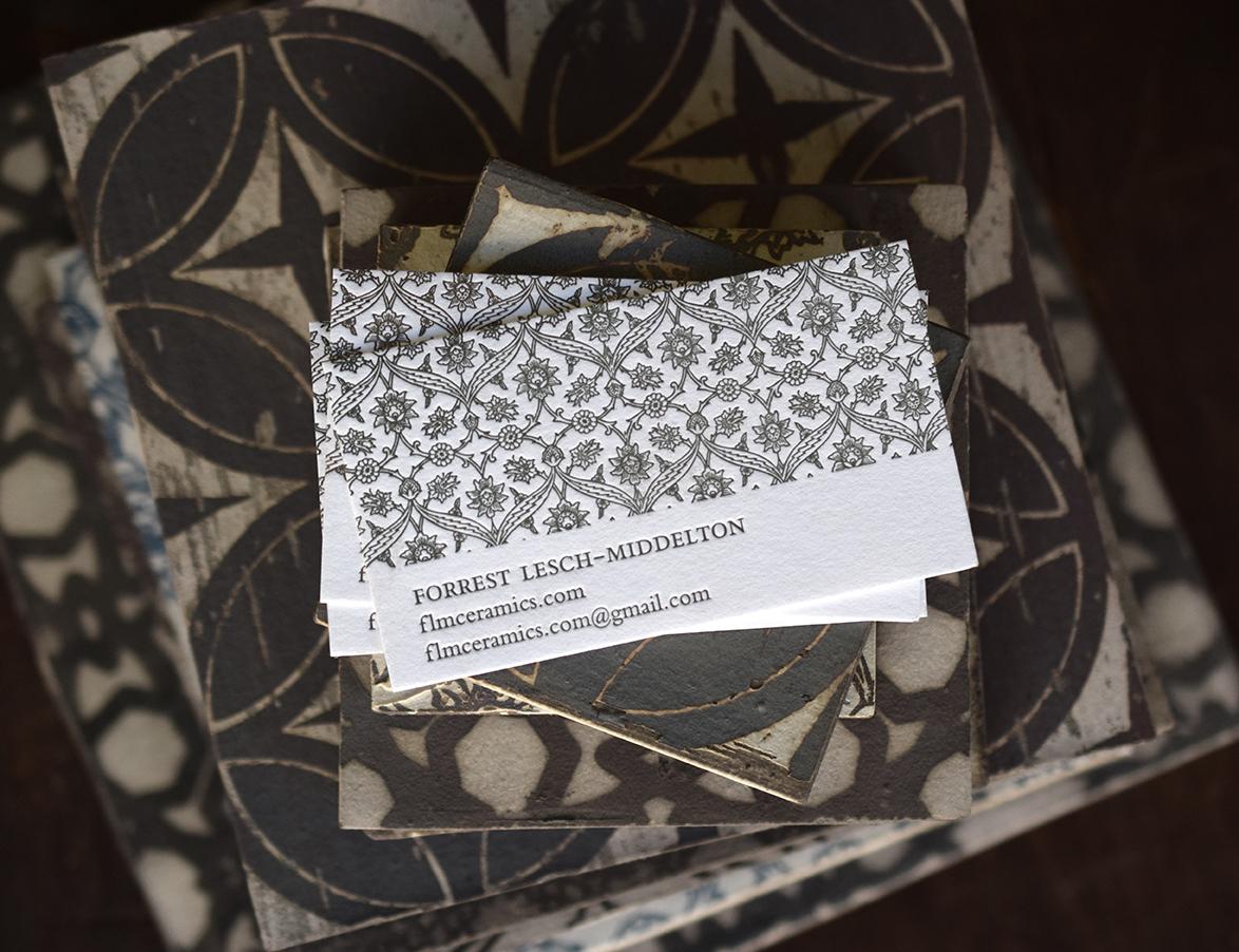 Business card design and printing for  FLM Ceramics .