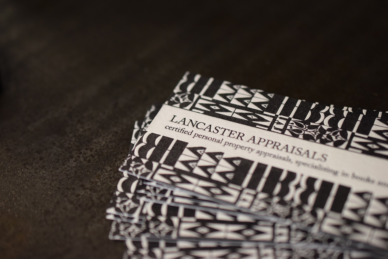 Business card design and printing for  Lancaster Appraisals.