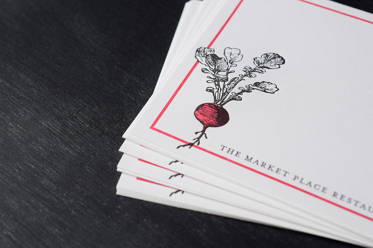 Stationery design and printing for the  Marketplace Restaurant .