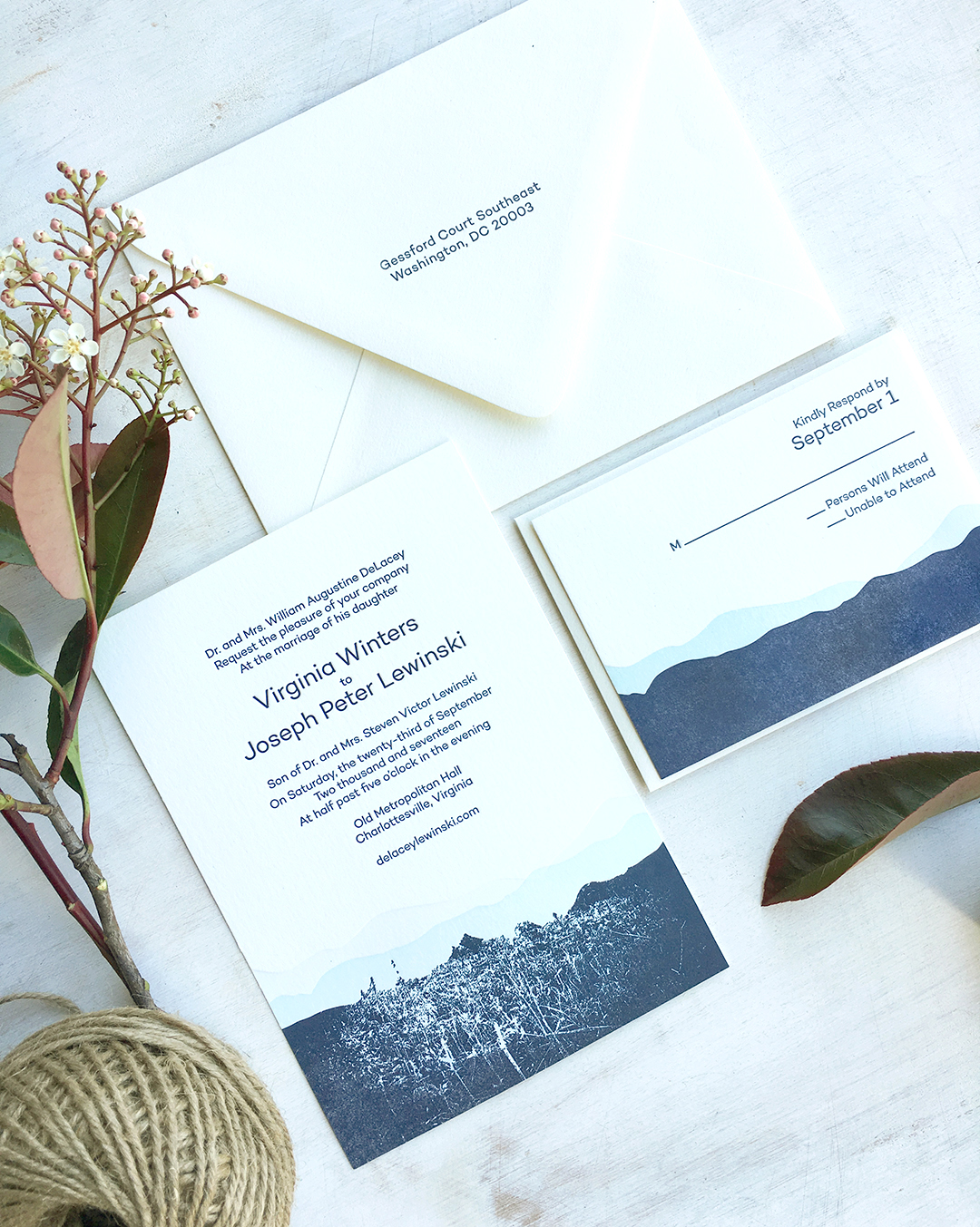 Ginny & Joe: Letterpress Printed Wedding invitations with blue mountain illustrations.