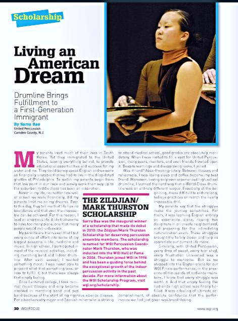 WGI Focus article written by Sarra Bae. Sarra was also the 2010 Zildjian/Mark Thurston scholarship winner.