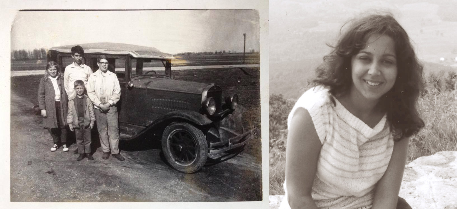Above, Left: The Souers kids (my dad in the back) in 1970 with their father's 1930 Hudson Essex. Right: My mom in 1982.
