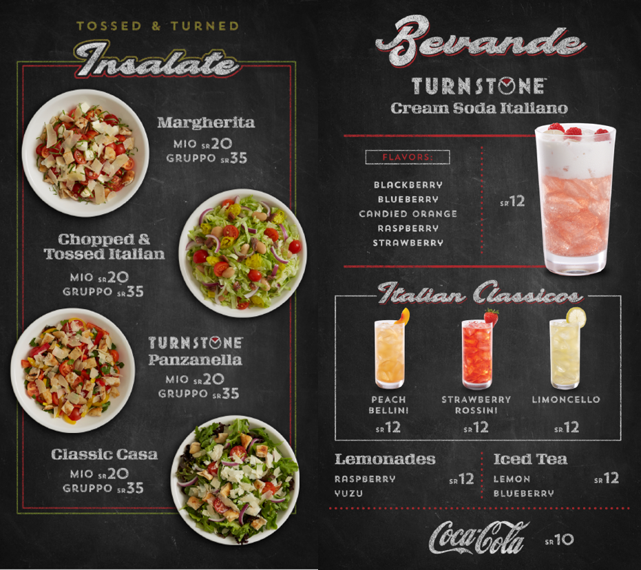 TURNSTONE PIZZA INSALATE & BEVANDE DIGITAL MENU PANELS