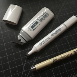 COPIC Wide and Sketch, and an ordinary Micron Pen