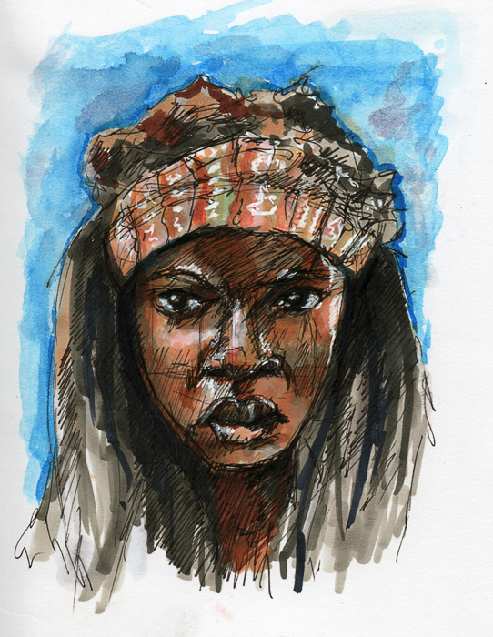 Michonne - COPIC Sketch Markers, Drawing Pens, and some water color.