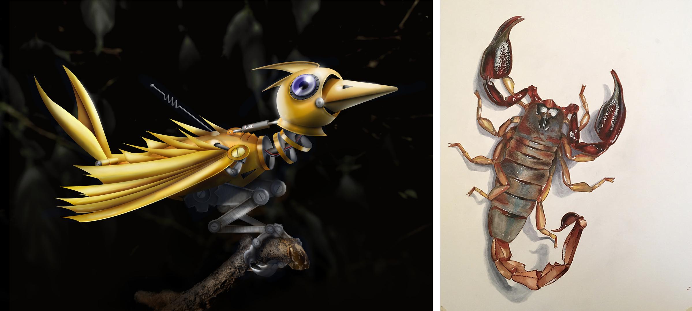 Clockwork Bird | Scorpion Illustration
