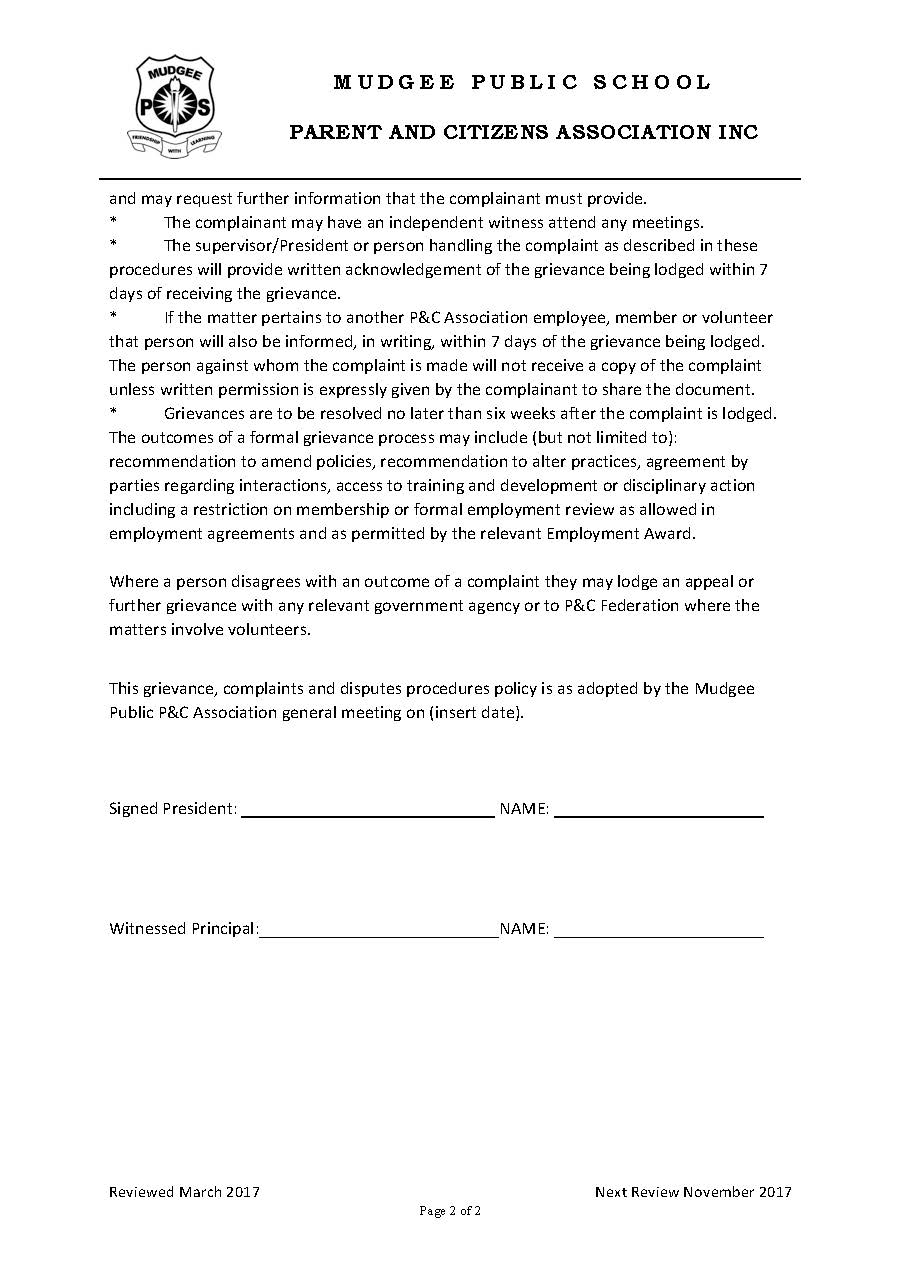 Grievance Policy & Procedure Page 2