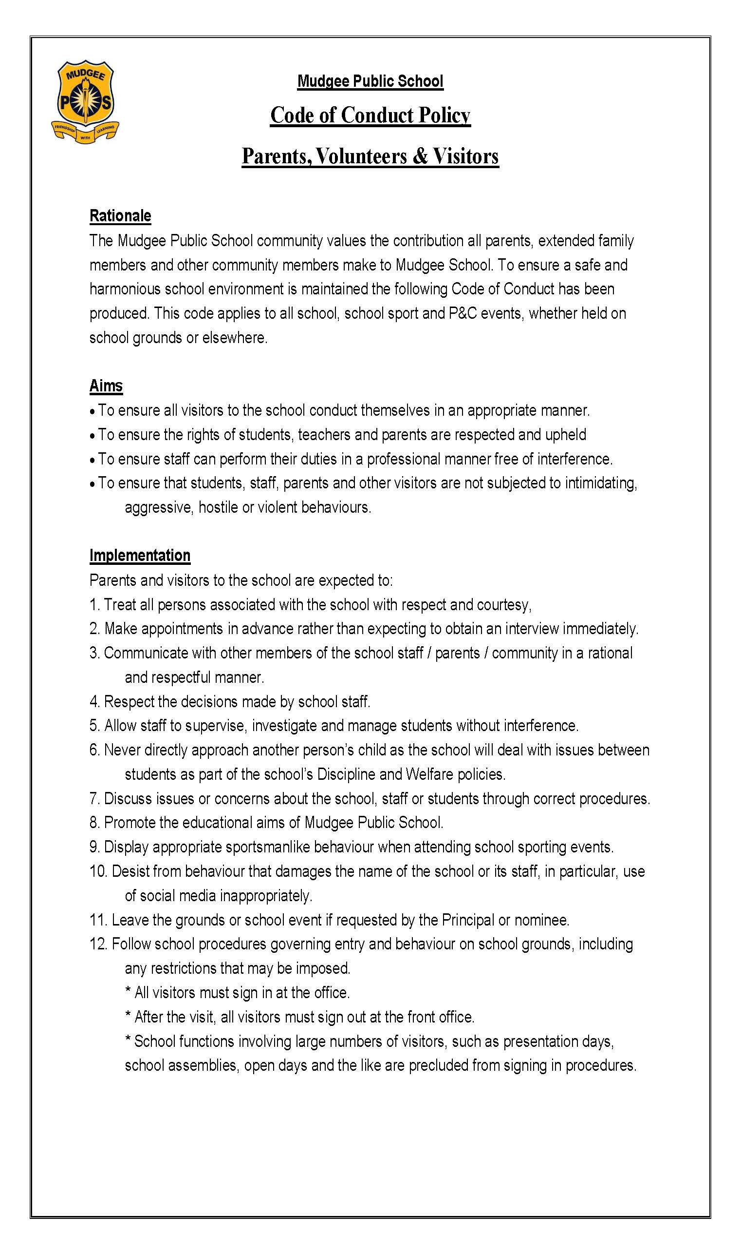 Parent-Volunteer Code of Conduct Page 1