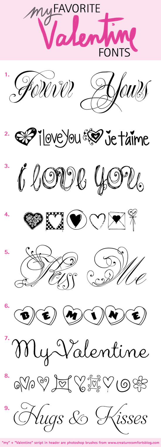 My Favorite Fonts for Valentine's Day / Create the perfect Valentine or Invitation with these fonts featuring script, calligraphy and doodles / as seen on www.brendasweddingblog.com