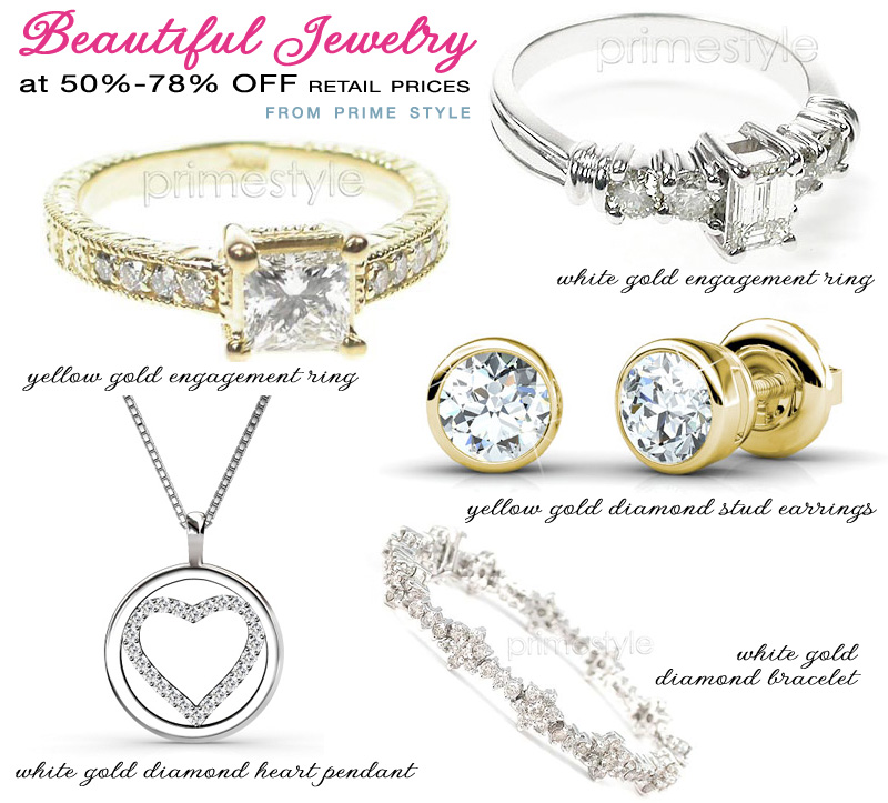 unique diamond jewelry from Prime Style at 50-78% off retail prices