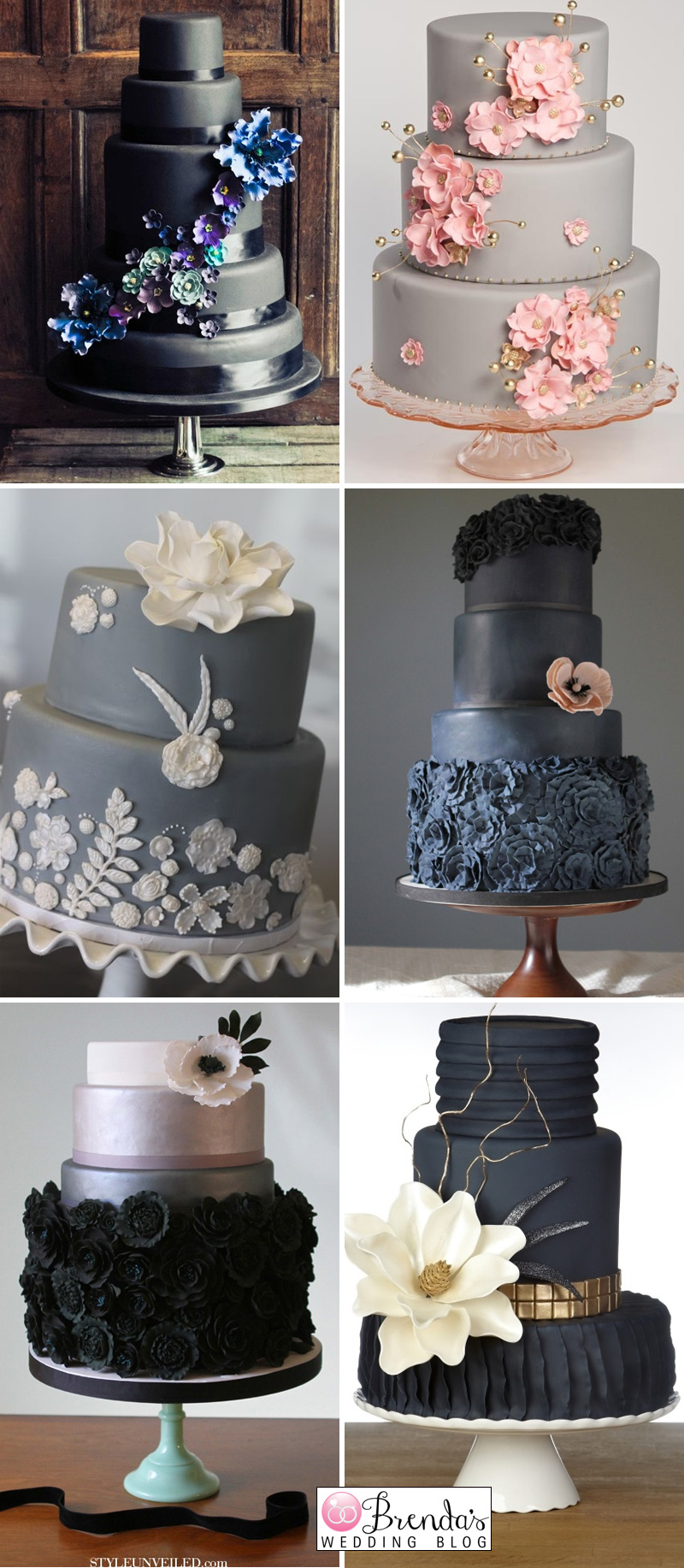 black and grey wedding cakes
