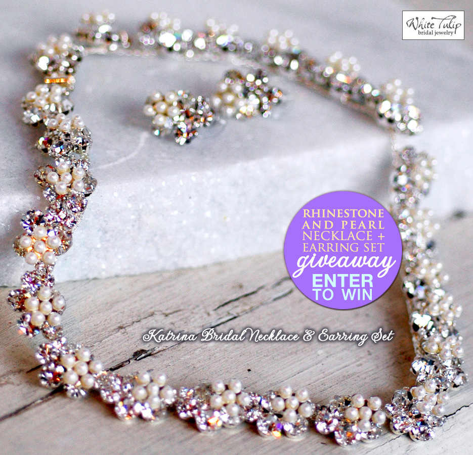 Enter to Win a Rhinestone and Pearl Necklace & Earring Set from White Tulip Boutique