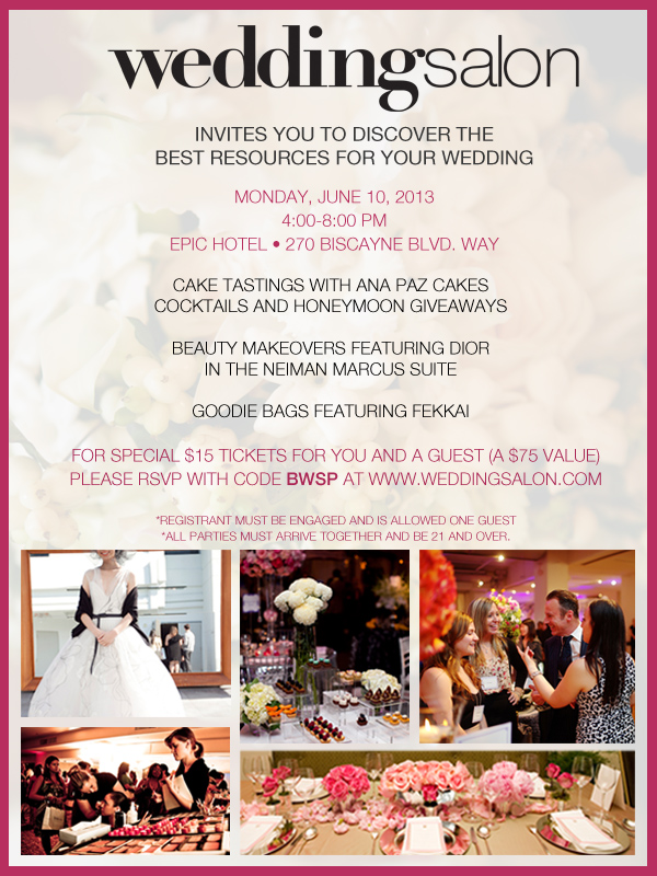 wedding salon miami show - free tickets for you to attend on June 10, 2013