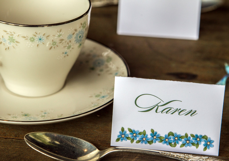 forget me not wedding place cards