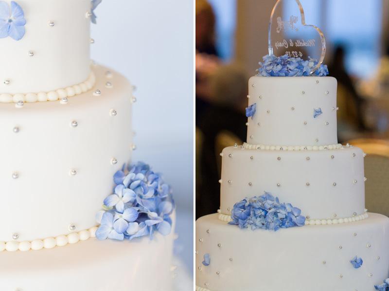 cape cod hydrangea wedding cake