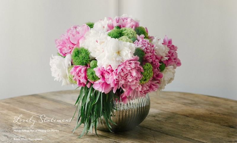 Wedding centerpiece with peonies and key limes | from Delighted Magazine | www.issuu.com/delightedmag