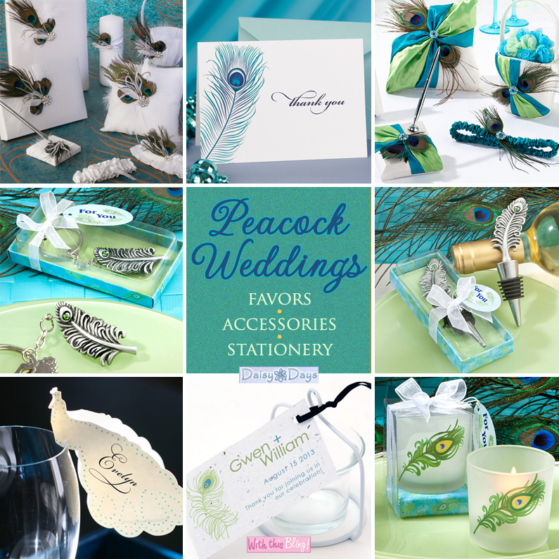 peacock weddings - coordinating favors, accessories and stationery from @daisydaysfavors
