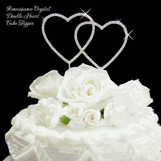 Renaissance Crystal Double Heart Cake Topper