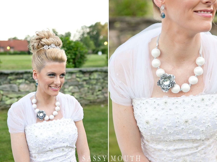 bride with gumball necklace