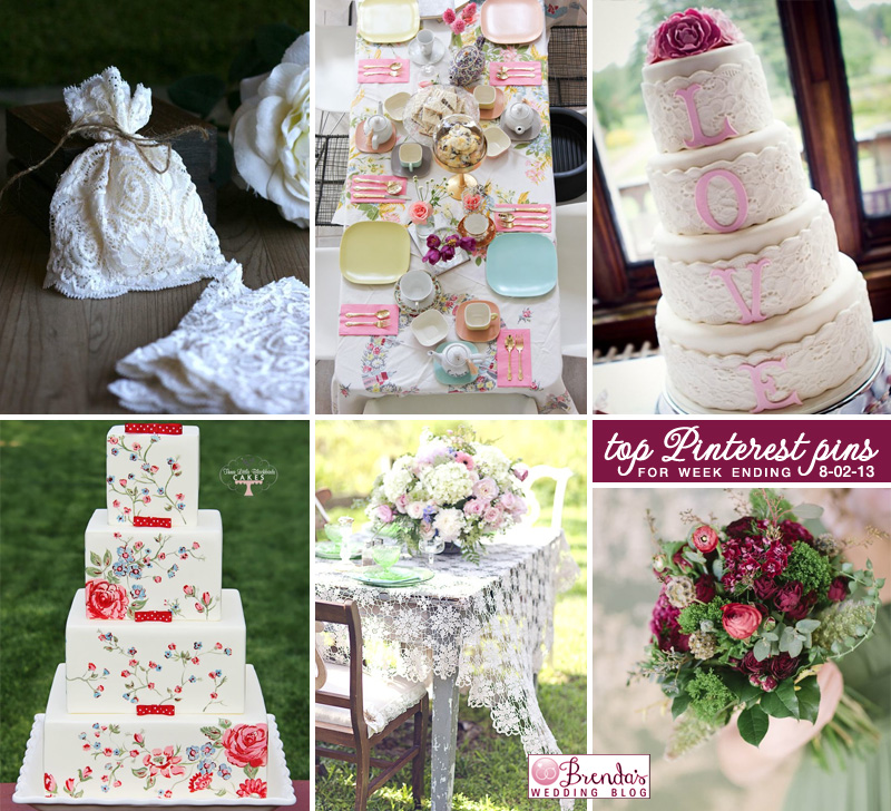 wedding lace and roses - hot items from the week ending 8-2-13