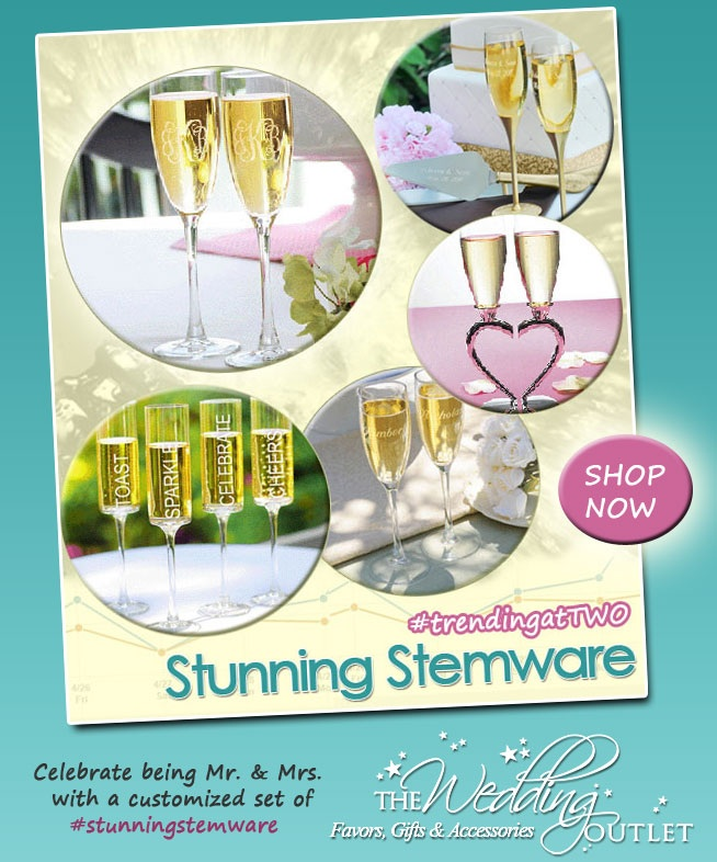 Stunning Wedding Stemware from @weddingoutlet #flutes #champagne #toasting