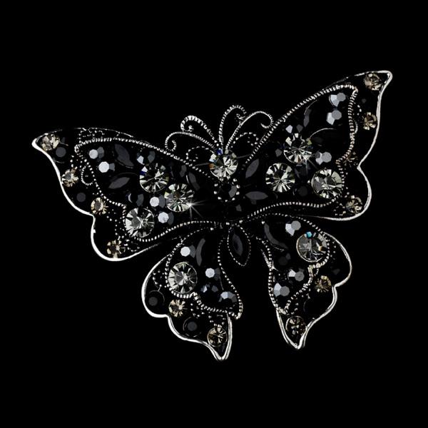 Rhodium Black & Clear Crystal Butterfly Bridal Brooch