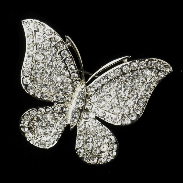 Antique Silver Rhinestone Butterfly Bridal Brooch