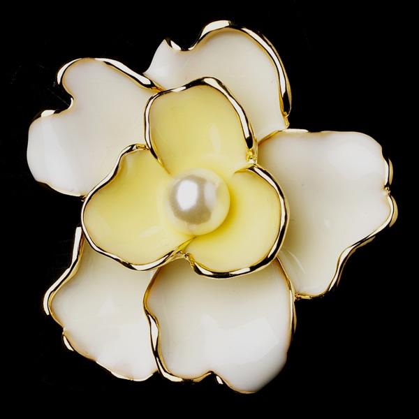 Gold & Yellow Flower Bridal Brooch