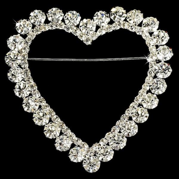 Silver Heart Romance Rhinestone Bridal Brooch