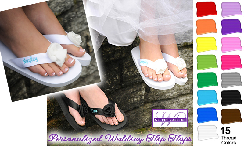 Personalized Wedding Flip Flops with a rosebud adornment | from @weddingflipflop