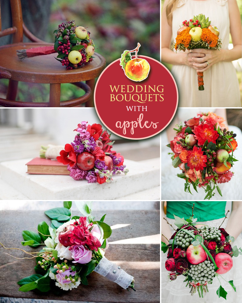 Fall Wedding Bouquets with Apples | incorporating seasonal fruit into your wedding flowers