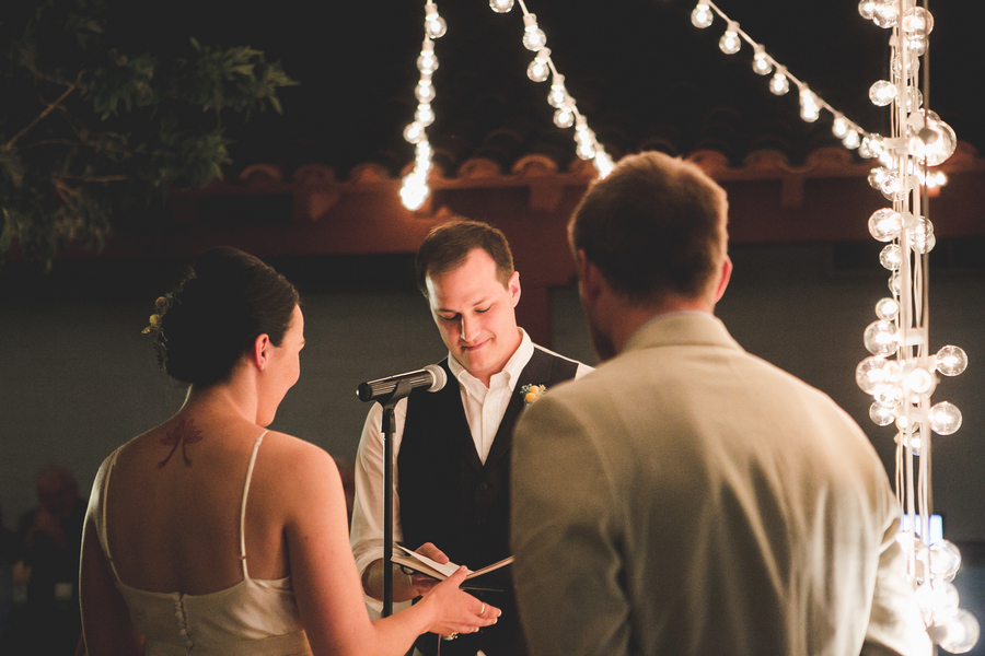 Las Vegas wedding ceremony under bistro lights