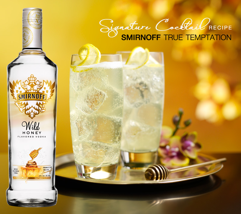smirnoff true temptation signature cocktail with wild honey flavored vodka