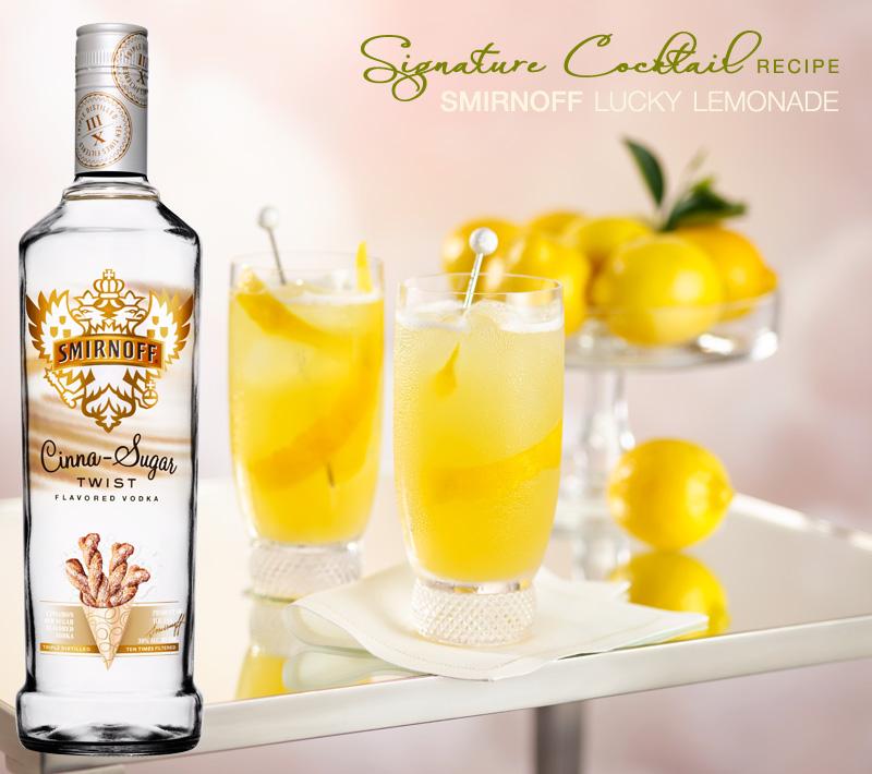smirnoff Lucky Lemonade signature cocktail with cinna-sugar twist flavored vodka