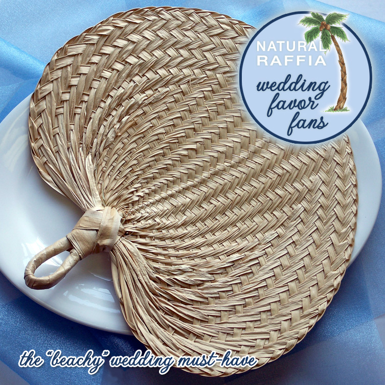 Natural Raffia Wedding Favor Fans from Daisy Days