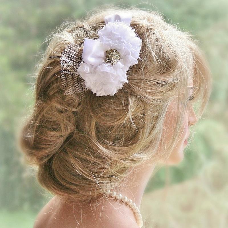 White Bridal Hair Flower from Fancie Strands