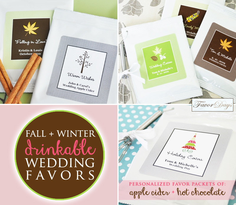 Hot Cider and Hot Cocoa Wedding Favors for Fall and Winter Weddings