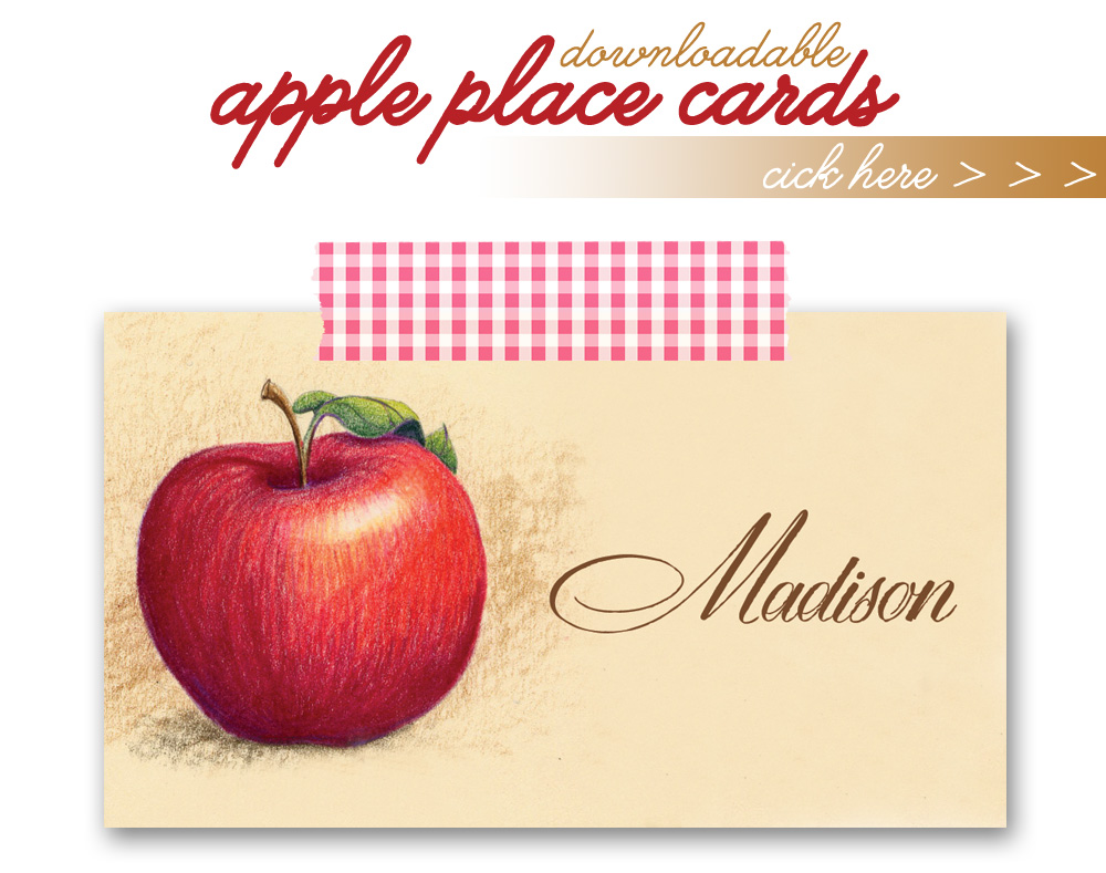 Printable Apple Place Cards Freebie