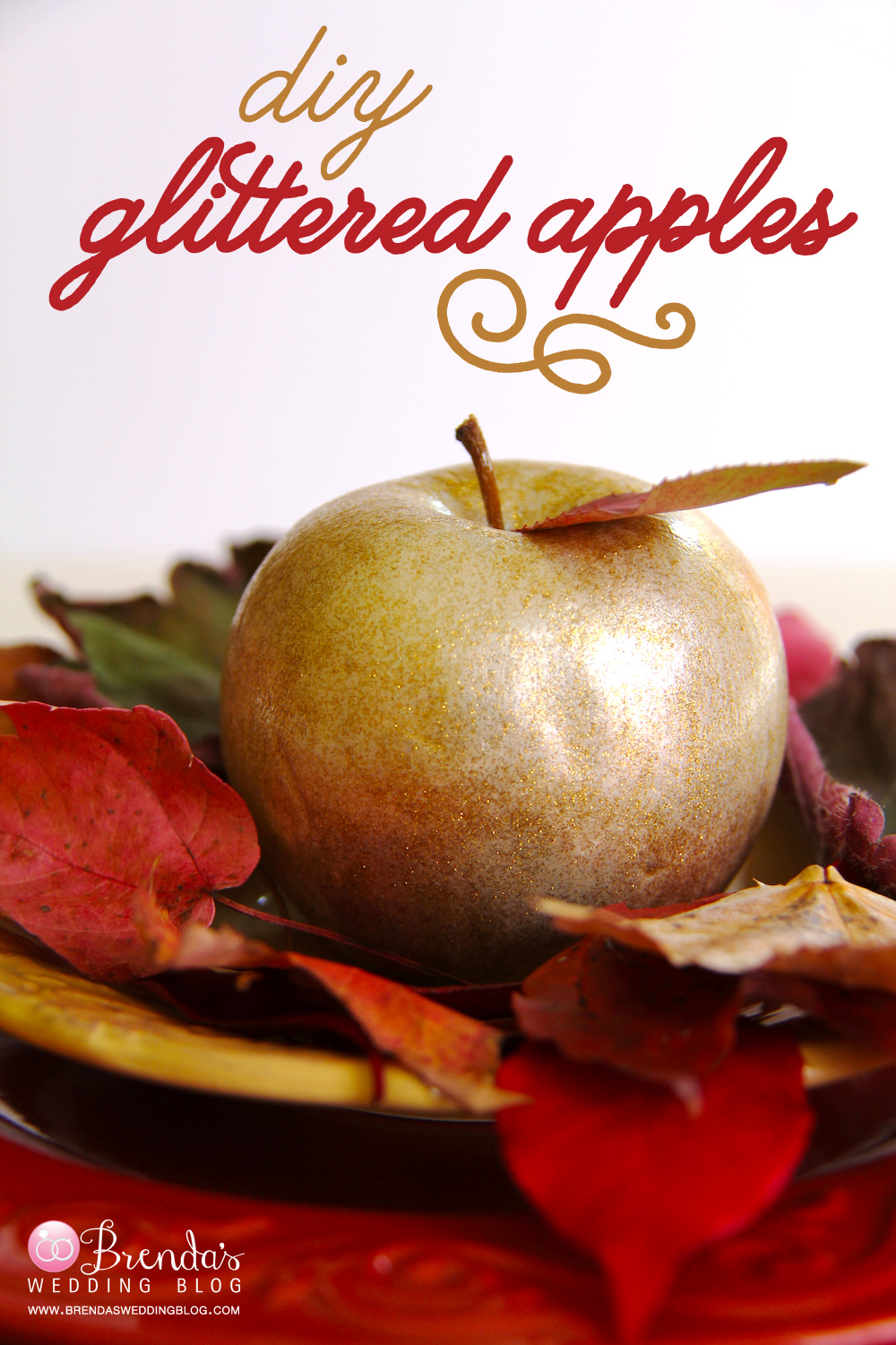 DIY Gold Glittered Apples | uses just acrylic paint, no messy glitter