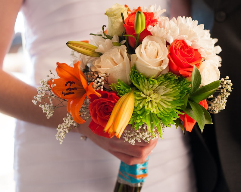 Bright & #Whimsical #Wedding #Bouquet with Roses, Lilies and Mums by Chelsea of Ad Finem Flores | www.adfinemflores.com