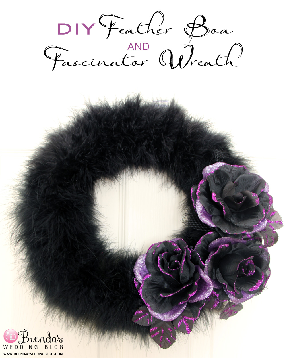 #DIY #Halloween #Wreath with feathers and flower fascinators #purple #black
