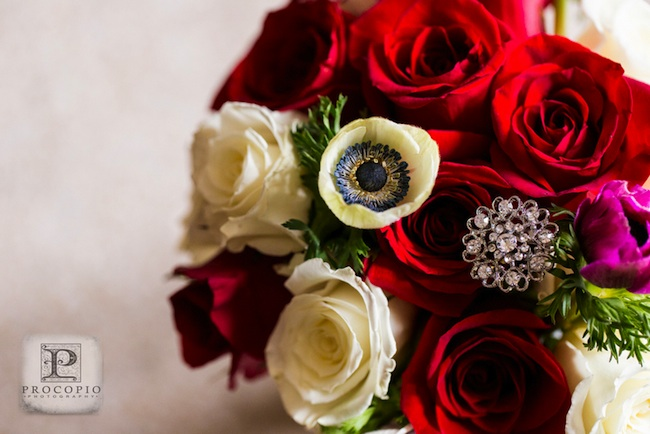 Roses and Anemone Wedding Bouquet with brooch | photo by Procopio Photography