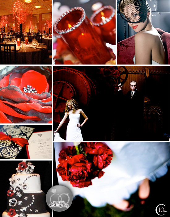 """True Blood"" Red and Black Wedding Inspiration Board"