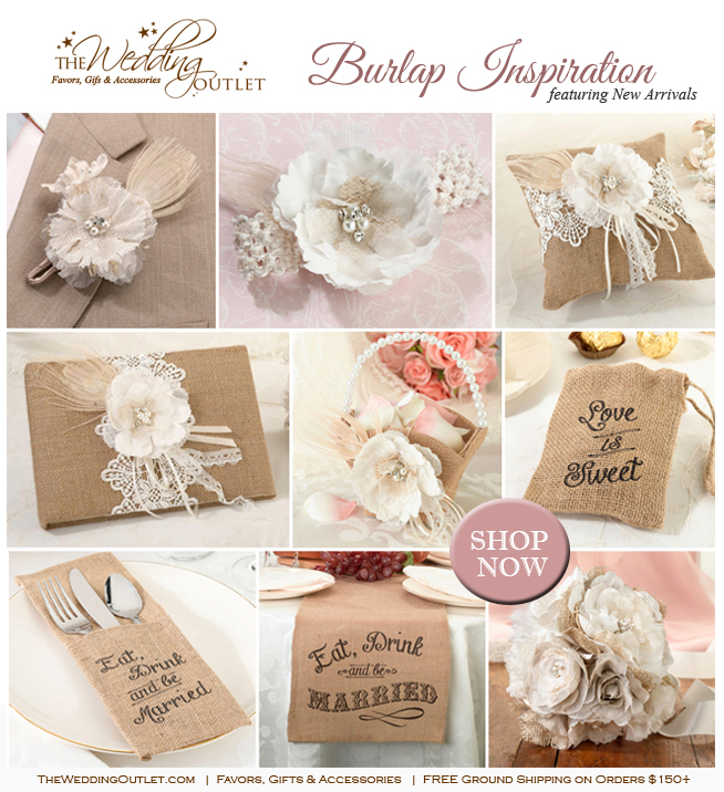 Rustic Wedding Ideas with Burlap and Lace : the all New wedding collection from The Wedding Outlet