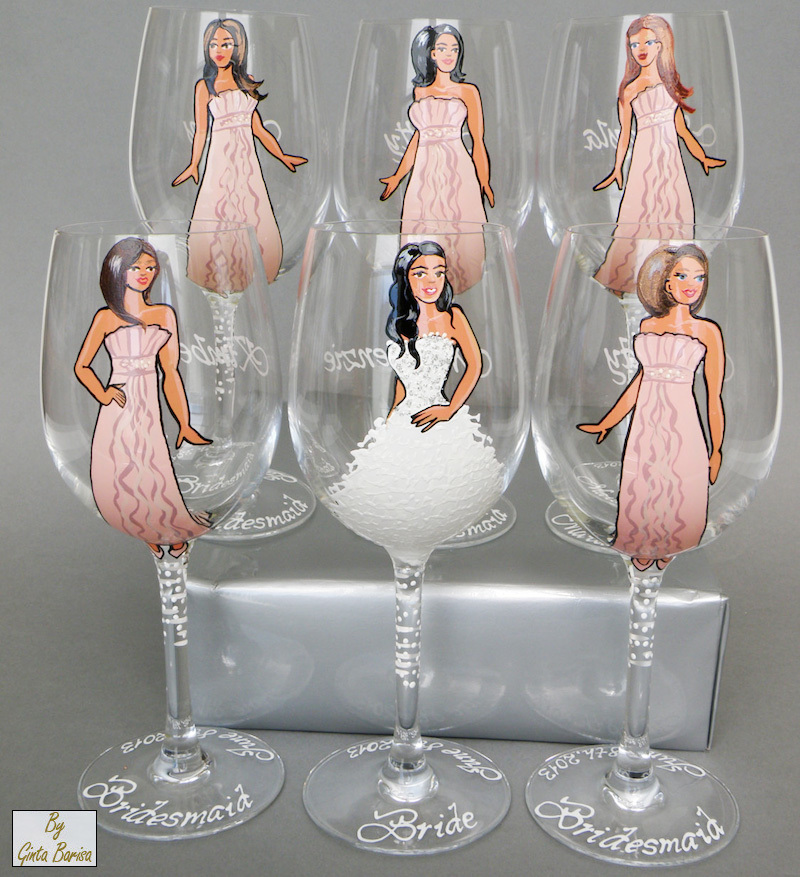 Personalized Bridesmaids Wine Glasses - hand painted to their likeness