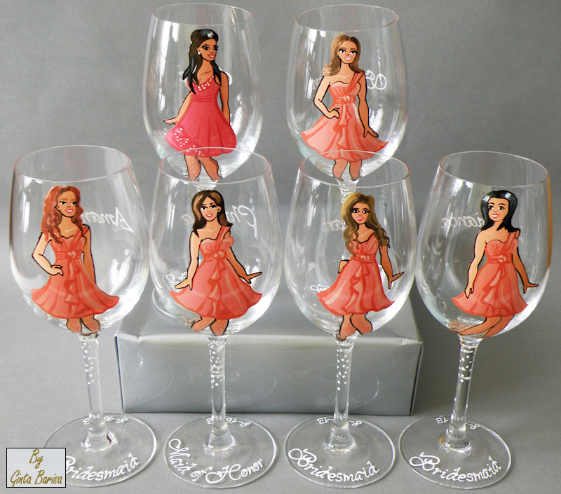 Personalized Wine and Champagne Glasses for Bridesmaids - painted to their likeness with all the details