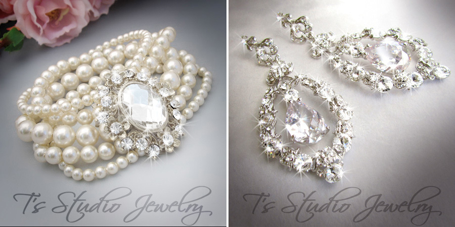 Bridal Pearls - bracelets and chandelier earrings from T's Studio Jewelry