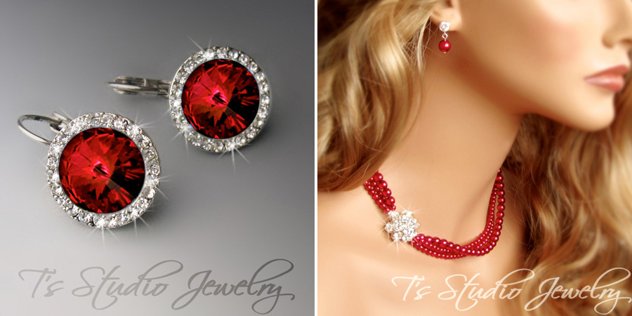 Holiday Jewelry : Red Rhinestone Earrings and Colored Pearl Statement Necklace from T's Studio Jewelry