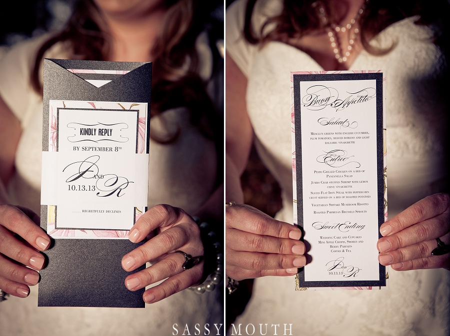Sleeping Beauty Inspired Wedding RSVP and Menu by Sassy Mouth Photography