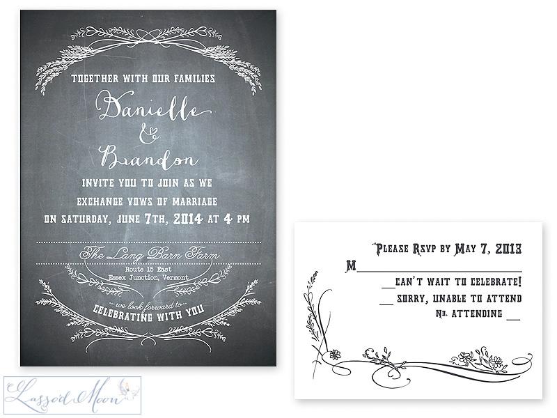 chalkboard wedding invitations | by Lasso'd Moon